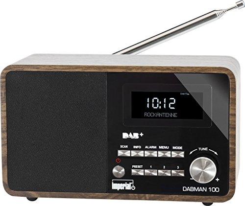 Imperial 22-220-00 DABMAN 100 Digitalradio (Holzgehäuse, LCD-Display, DAB+/UKW, RDS, 3,5mm Klinke) braun