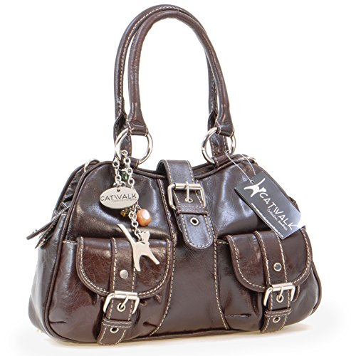 Ledertasche Faith von Catwalk Collection - Größe: B: 25-31 H: 18 T: 7 cm Braun