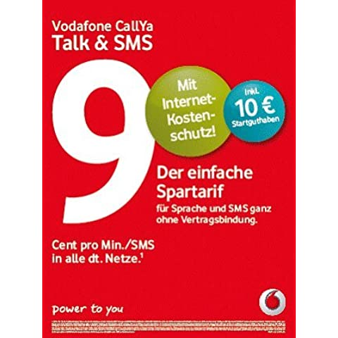 Vodafone CallYa Talk & SMS (9Cent por minuto/SMS en todas las redes Alemana) Prepaid Teléfono SIM Tarjeta con 10Euro prepago ehemals Tarif