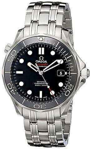 OMEGA Men's Seamaster 41mm Steel Bracelet & Case Automatic Black Dial Analog Watch