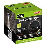 Asab, 2unidades funciona con energía solar 3-LED foco Gutter Luz al aire libre jardín valla de pared lámpara de techo cobertizo Pinza resistente a la intemperie múltiples ángulos de montaje, negro, 1 Pack (2 Lights)