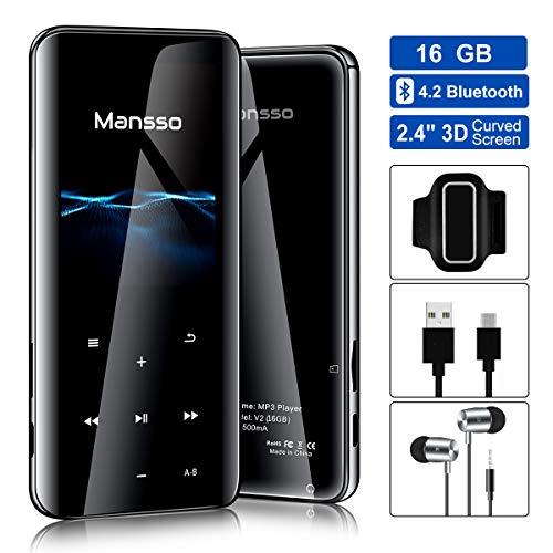 MP3 Mansso, 16GB Bluetooth MP3 Player mit Kopfhörer, Sport Armband/3D Bildschirm mit Abgerundeter Kante Music Player, mit Lautsprecher FM Radio Voice Recorder, Speicher bis 128 GB