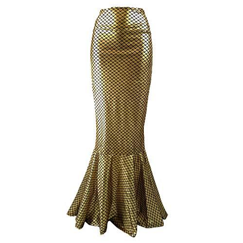 Hibote Elegante Frauen Meerjungfrau Schwanz Rock Fotografie Kostüm Kleid Skala Maxi Rock für Halloween Weihnachten Nacht Party Cospalay Gold S
