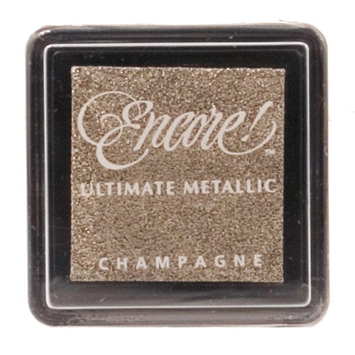 Beige Shimmer (Tsukineko UMS20 Ultimate Metallic kleine Stempelkissen Champagne, Synthetic Material, beige, 3.4 x 3.4 x 2 cm)