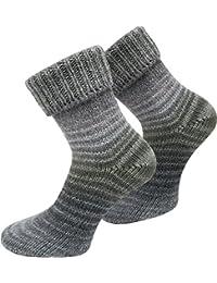 2 Paar Wollsocken Skandinavien-Style wie handgestrickt, mit Umschlag für Damen und Herren