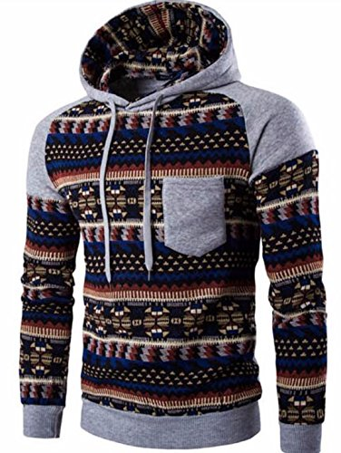 Men's Fashion Stripe Prints Slim Fit Pullover Hoodies LightSlateGray