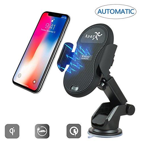Wireless KFZ-ladegerät, Apark Automatische Infrarot Induktion Auto Ladegerät, Qi Wireless Dashboard Kfz-Halterung Air Vent Halterung Wireless Schnelles Ladegerät 10W für Samsung Galaxy S9/S8/S8 Plus, 7,5 W für iPhone X/8/8 Plus, 5 W für alle Qi Standard Gerät (Schwarz) (Plug Mount Air)