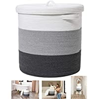 Textile and Beyond Storage Organizer Foldable Pure Cotton Woven Rope Laundry Basket with lid Cloth Storage Baby Bucket…