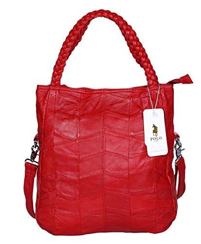 Krokodil-leder Handtasche (VIDENG POLO Frau Ziegenfell Leder Tote Handtasche Hobo Crossbody Umhängetasche Satchel für Damen (Rot-klein))