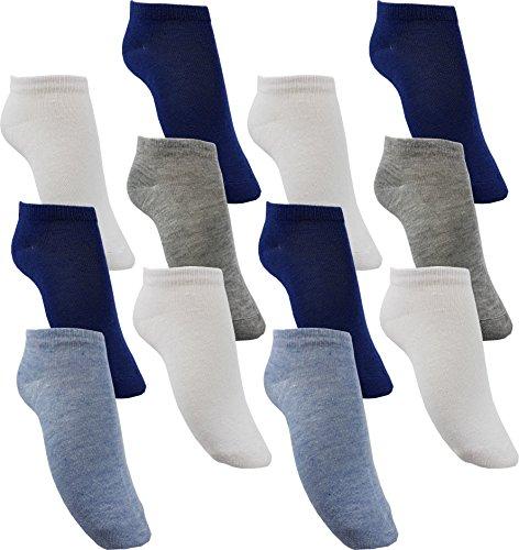 by Laake 12 Paar Jungen Sneaker Kinder Socken 95% Baumwolle Bunter Mix (JD111 31-34)