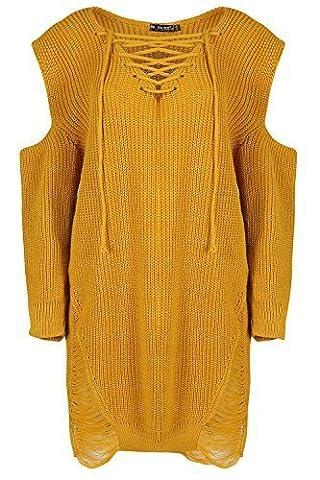 Be Jealous femmes surdimensionné Destroy épais déchiré lacet tricoté déchiré Robe RU grande taille 8-22 - Moutarde, Plus Size (UK 16/18)