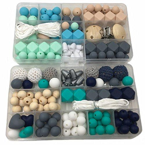 Coskiss 2 Boxen Baby Beißring Spielzeug Silikon Kinderkrankheiten Schnuller Clip Kit Geometrische Hexagon Silikon Beißring Perlen DIY Baby Pflege Necklack (A191+A193)