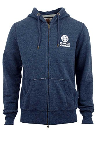 Franklin-Marshall-Mens-Sweatshirt-With-Zip-and-Hood-Blue-Melange