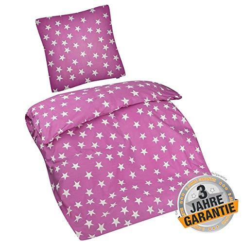 Aminata Kids Sterne Bettwäsche 135 x 200 cm + 80 x 80 cm aus Baumwolle mit Reißverschluss, unsere Kinderbettwäsche mit Stern-Motiv ist weich und kuschelig (Flanell-bettwäsche Kid)