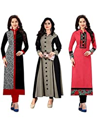 Poplin Women's Indo Synthetic Cotton Semi-stitch Kurti Material (Multicolour, Free Size) - Pack of 3 Pieces