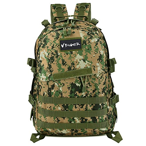 Vbiger Impermeabile Zaino Tattico 40 litri per Trekking / Militare / Alpinismo / Arrampicata (Verde esercito)