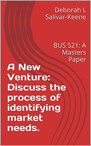 A New Venture: Discuss the process of identifying market needs.: BUS 521: A Masters Paper (English Edition)