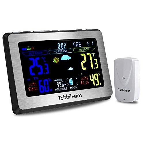 Tobbiheim Funk Wetterstation, Funkwetterstation Vollfarbanzeige Thermometer und Hygrometer für Innen und Außen Temperatur, Luftfeuchtigkeit, Mond Phase, Wecker & USB Ladebuchse für Handy - Silber (Innen-luftfeuchtigkeit)