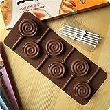 Dealglad® Molde de silicona bandeja de Stick Cake Pop Chocolate, diseño de piruleta Fiesta de Cupcake molde para hornear Spiral