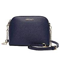 Women Messenger Crossbody Purse Lightweight Medium Dome Shoulder Bags PU Leather Handbags Satchel Functional Multi Pocket Blue