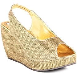 Do Bhai Women's Golden Faux Leather Wedges (SH) 5 UK