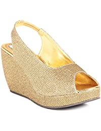 Do Bhai Women's Golden Faux Leather Wedges