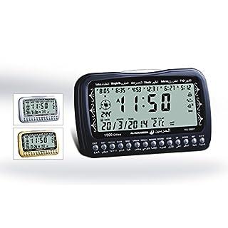 Ezan Azan Uhr Tischuhr Gebetsuhr Gebetsrufuhr mit Kompass TOP NEU OVP (silber)