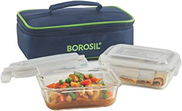 Borosil Glass Lunch Box Set with Bag, 370Ml, 2-Pieces, Blue
