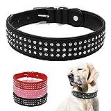Berry Strass gepolsterte Hundehalsbänder – Bling Weiches PU-Leder Pet Halsbänder – Diamanten Nieten für mittelgroße und große Hunde