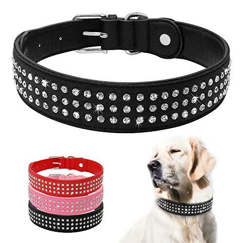 Beirui Strass gepolsterte Hundehalsbänder - Bling Weiches PU-Leder Pet Halsbänder - Diamanten Nieten für mittelgroße und große Hunde -