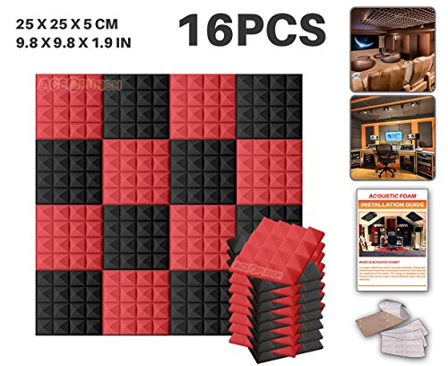 ace-punch-16-pack-2-colors-black-and-red-pyramid-acoustic-foam-panel-diy-design-studio-soundproofing