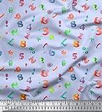 Soimoi Blau Baumwolle Batist Stoff Bunte geometrische Zahl