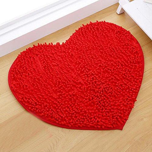 Alfombra de boda a largos pelo forma de corazón 60* 50cm multicolor rojo