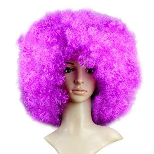 (Rifuli® Perrücke Partei-Disco-lustige Afro-Clown-Haar-Fußball-Fan-Erwachsener Afro-Maskerade-Haar-Perücke Perücken Haarteile für Erwachsene)