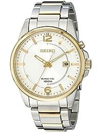 Seiko SKA672 es fundamental a la hora de los hombres de plata de dos tonos reloj de acero de reserva de marcha de la cinética