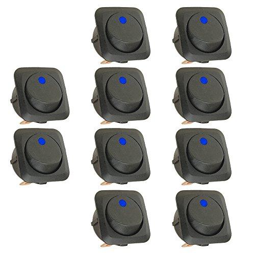 Mintice™ 10 X 25mm Véhicule de voiture Camion de bateau Rond Commutateur à bascule Interrupteur à bascule Lumière bleue de LED 12V 25A
