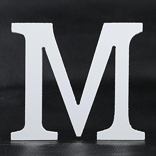 Weiße Holzbuchstaben für Bastelarbeiten, Zuhause, Büro, Wand, Hochzeit, Party, Geburtstag, Dekorationen usw., holz, M, Einheitsgröße - Weiße Holz Wand