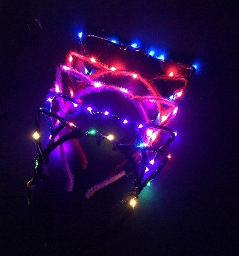 äschen-Ohr-Katze geformte LED-Stirnbänder Partei-Licht-Up blinkende blinkende Partei-Abnutzungs-Weihnachtshaar-Zusatz-Glühen-Partei liefert Farbe gelegentliches ()