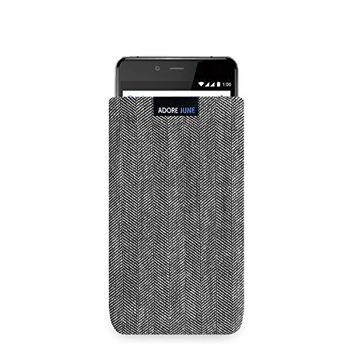Adore June Business Tasche für OnePlus X Handytasche aus charakteristischem Fischgrat Stoff - Grau/Schwarz | Schutztasche Zubehör mit Bildschirm Reinigungs-Effekt | Made in Europe