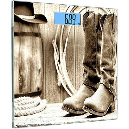Ultraflache, hochpräzise Sensoren Digitale Waage mit Körpergewicht Westliche Personenwaage aus gehärtetem Glas, traditionelles Rodeo-Zubehör mit Roper-Stiefeln in Vintage-Farben Nostalgisches Wildfoto - Vintage Rodeo
