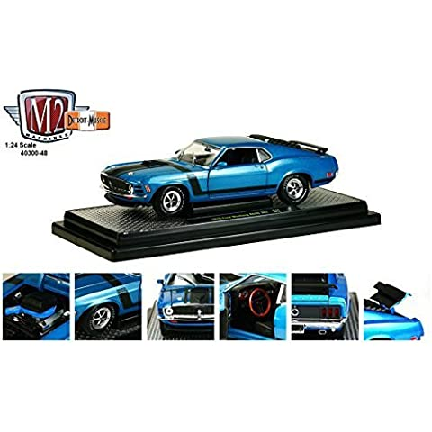 1970 Ford Mustang Boss 302 Dark Aqua Metallic With Black Stripes 1/24 by M2 Machines 40300-48B by M2 Machines