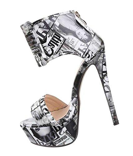 Damen-Schuhe Sandaletten | elegante High-Heel mit Plateau und Stiletto Absatz in verschiedenen Farben und Größen | Schuhcity24 | Pumps mit Reißverschluss Grau