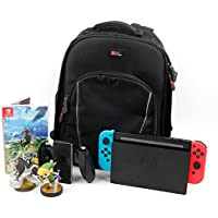 Black Water-Resistant Rucksack with Customizable Interior & Raincover for NEW Nintendo Switch (Console with Joy-Cons attached) - by DURAGADGET