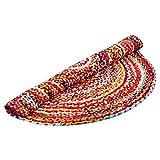 Aakriti Gallery Commerce équitable coloré Rond Fait à la Main. 100% Coton Tapis Chindi Tapis Multicolore Indien Tapis recyclé Tapis Boho Tapis Déco...