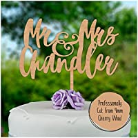 PERSONALISED Mr & Mrs Wooden Wedding Cake Topper - Rustic Hardwood Decoration Wedding Keepsake - Personalise with ANY SURNAME and ANY DATE - Mr And Mrs Cake Decoration - Made from Cherry or MDF Wood