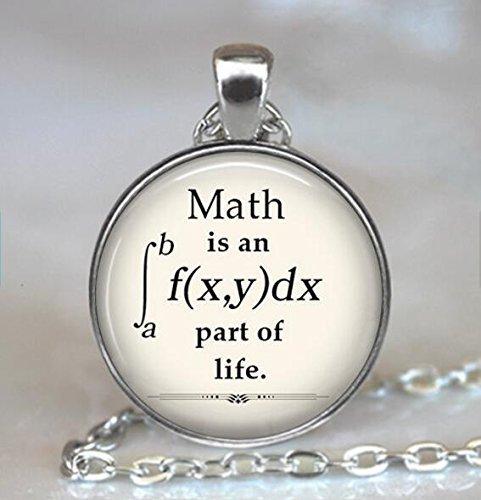 """Kettenanhänger mit Aufschrift """"Math is an Integral Part of Life"""", Mathematik-Anhänger, Mathematik-Geek-Anhänger, Geschenk für Mathematiker, Mathematiker-Lehrer oder Mathematik-Studenten"""
