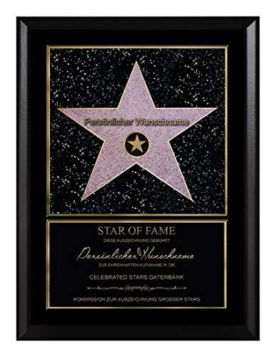Persönlicher Hollywood Stern im Walk of Fame Stil - Star of Fame Urkunde für Mamas, Papas oder Wunschtext auf spezieller Holzplatte 23 x 30,6 cm, Motiv:selbst gestalten
