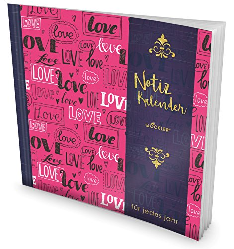 GOCKLER® Notiz-Kalender: Universaler Tagebuch-Kalender || 1 Zeile pro Tag + Notizseiten + Glänzendes Softcover || Ideal für Erinnerungen, To Do's & Termine || DesignArt.: Love