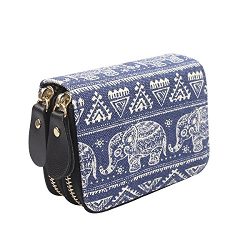 Très Chic Mailanda Geldtasche Eule Geldbeutel Tasche Portemonnaie umlaufende Reißverschlüsse mit Design Eulen groß für Damen (Elefant 2)