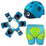 WANG-L Ginocchiere per Bambini Set 8 in 1 Kit Protezioni Regolabili Protezioni per I Polsi Protezione per Bambini Protezione dei Bambini Bicicletta per Bambini,Blue-M(22-35KG)